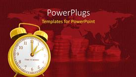 PowerPoint template displaying a clock with a lot of coins in the background