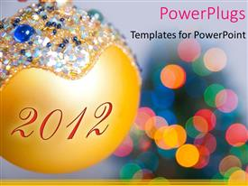 PowerPoint template displaying a golden ball with a lot of lights in the background