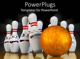 PowerPlugs: PowerPoint template with a golden bowling ball hitting a set of white bowling ins