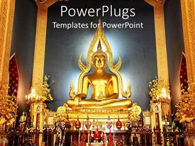 PowerPoint template displaying golden buddha statue, illuminating temple
