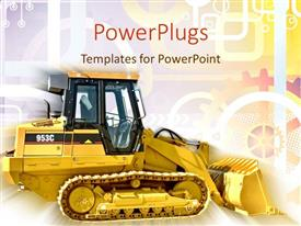 PowerPlugs: PowerPoint template with a golden bulldozer with multi colored background including lines and circles