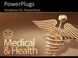 PowerPlugs: PowerPoint template with golden caduceus medical symbol with medical and health keywords over brown background
