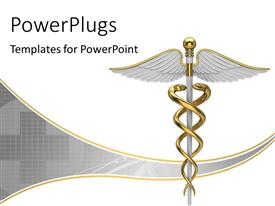 PowerPlugs: PowerPoint template with golden caduceus medical symbol with plus sign over grey background