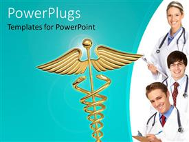 PowerPoint template displaying golden Caduceus symbol over green background with smiling doctors