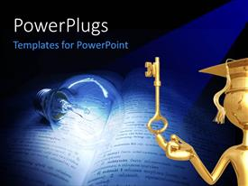 PowerPoint template displaying a golden character with a key and a bulb lit on a book