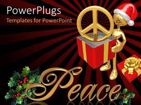 PowerPlugs: PowerPoint template with a golden character wearing a Christmas cap holding red and yellow box