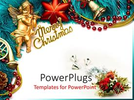 PowerPlugs: PowerPoint template with golden cherub playing flute with Christmas decorations