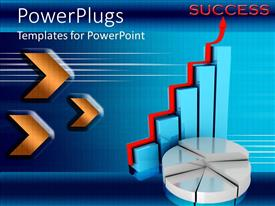 PowerPoint template displaying golden chevrons pointing to blue bar chart with red arrow and white pie graph