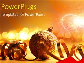 PowerPlugs: PowerPoint template with some gold colored ornaments with some shinning blurry lights behind