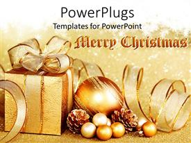 PowerPoint template displaying golden Christmas theme with gift box and Christmas globes, Merry Christmas words on golden background with white snowflakes
