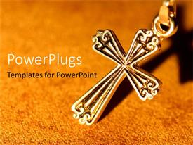 PowerPlugs: PowerPoint template with golden crucifix on grain patterned yellow background