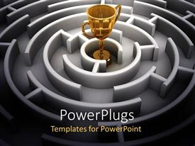 PowerPoint template displaying a golden cup in the middle of a maze