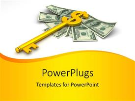 PowerPlugs: PowerPoint template with golden dollar skeleton key over hundred dollar bills on white background
