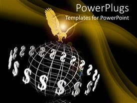 PowerPlugs: PowerPoint template with a golden eagle holding an earth globe framework with dollar signs around them
