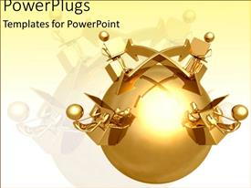 PowerPlugs: PowerPoint template with a golden earth globe with four people around them