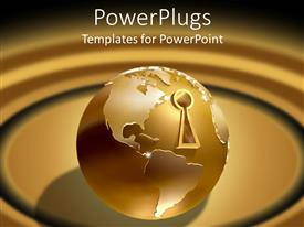 PowerPoint template displaying golden earth globe with key hole over brown background