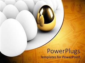 PowerPlugs: PowerPoint template with golden egg in bunch of white eggs