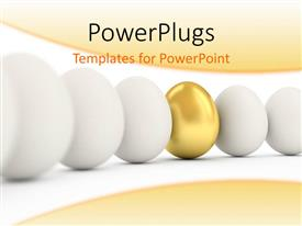 PowerPlugs: PowerPoint template with golden egg in a row of the white eggs