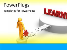 PowerPlugs: PowerPoint template with golden figure building a bridge of puzzle pieces to a platform of learning