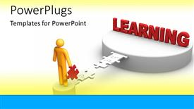 PowerPoint template displaying golden figure building a bridge of puzzle pieces to a platform of learning