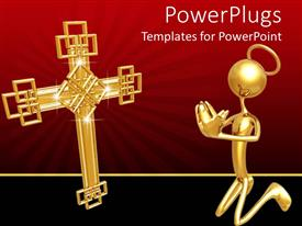 PowerPoint template displaying a golden figure with a cross and reddish background