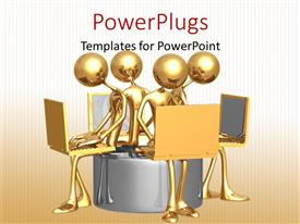 PowerPoint template displaying golden figures sitting on a round seat working on laptop computers