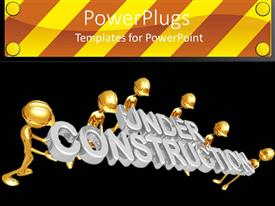 PowerPlugs: PowerPoint template with golden figures wearing hard hats holding silver under construction words on black background