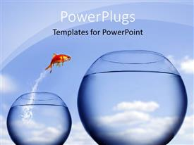 PowerPlugs: PowerPoint template with golden fish jumping from one fish bowl to other bigger bowl depicting change