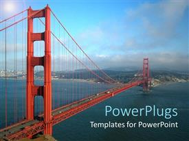PowerPoint template displaying a golden gate bridge in san Francisco with the blue sky as the evening fog begins to roll in