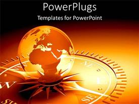 PowerPlugs: PowerPoint template with a golden globe on a compass