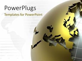 PowerPlugs: PowerPoint template with a golden globe with map in the background and place for text