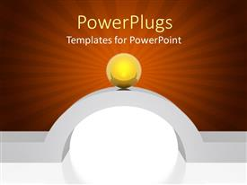 PowerPlugs: PowerPoint template with a golden globe with reddish background