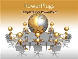 PowerPlugs: PowerPoint template with a golden globe with various people sitting in an office