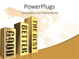 PowerPlugs: PowerPoint template with golden graph chart good, better, best keywords on bars and map in background