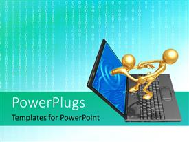 PowerPlugs: PowerPoint template with golden human character pulling the other from laptop screen