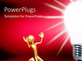 Beautiful PPT theme with golden human character sitting aside of a light bulb over dark background
