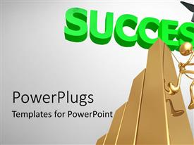 PowerPlugs: PowerPoint template with golden human figure climbing a bar with the text Success