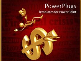 PowerPlugs: PowerPoint template with golden human figure falling of a dollar symbol with bull horns