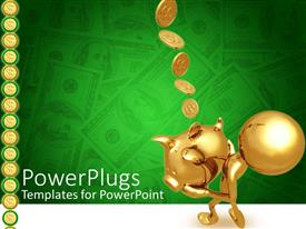 PowerPoint template displaying golden human figure holding a piggy bank with coins falling in