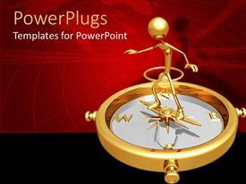 PowerPlugs: PowerPoint template with golden human figure standing on a compass on a red background