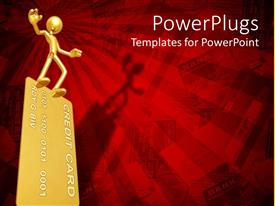 PowerPlugs: PowerPoint template with golden human figure standing on a gold credit card