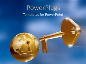 PowerPlugs: PowerPoint template with golden key with an earth globe with a hey hole