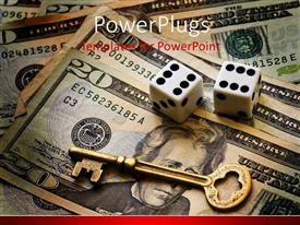 PowerPlugs: PowerPoint template with a golden key and a pair of dice on some dollar bills