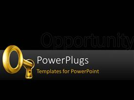PowerPlugs: PowerPoint template with golden key place in key hole on black background
