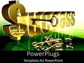 PowerPoint template displaying golden key to success problem solution as a metaphor on a black background
