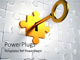 PowerPlugs: PowerPoint template with golden key trying to unlock the golden puzzle piece from the jigsaw puzzle