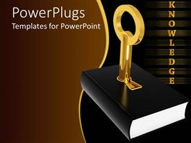 PowerPoint template displaying golden knowledge word and black cover book with 3D golden key inserted in the book cover