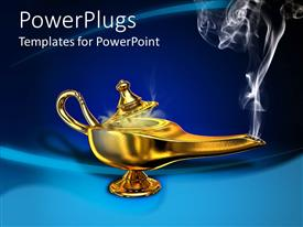 Amazing PPT theme consisting of a golden magic lamp with smoke coming out of it