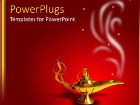 Presentation design enhanced with a golden magic lamp with smoke on red background