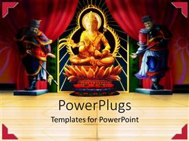 PowerPoint template displaying golden Mahavira statue with two side blue body guards